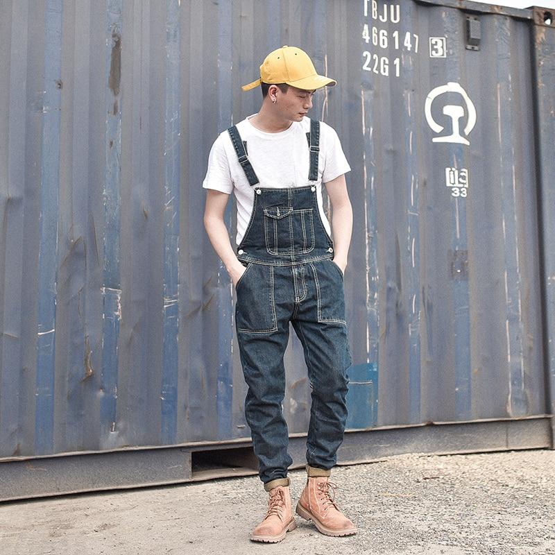 Hommes Pantalons Combinaisons Bleu Pleine Longueur Maigre Casual Jeans De Black Mâle Mince Denim Japon Style Vintage Salopette nxPn0OH