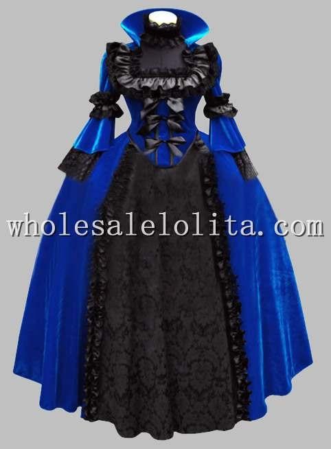 Роскошный готический синий и черный костюм королева возрождения