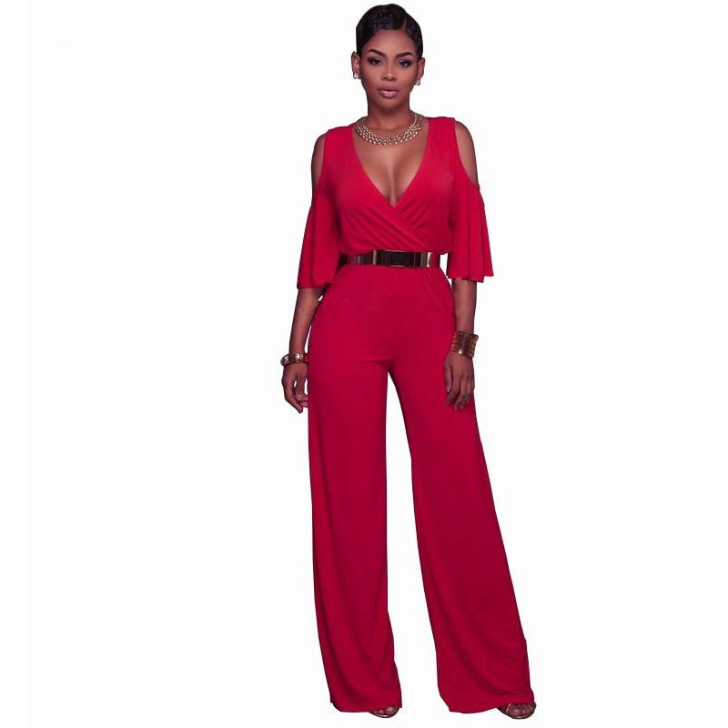 2018 Summer Women Sexy Deep V-Neck Jumpsuits Rompers Ladies Overalls Elegant Wide Leg long Pants Club Party jumpsuit with Belted