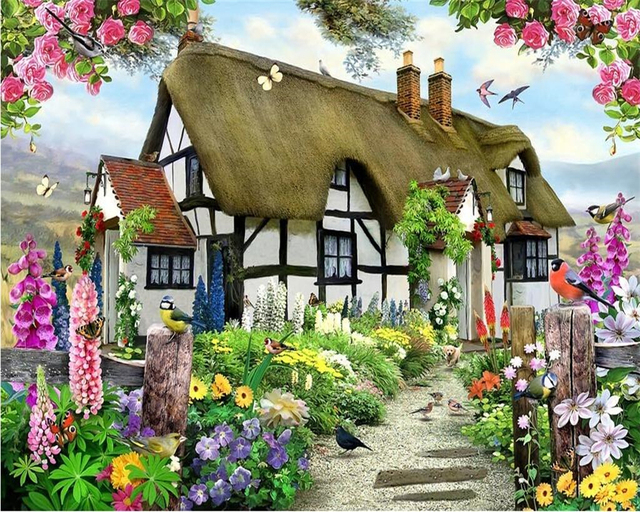 Beibehang Custom Wallpapers Gorgeous Pastoral English Country Cottage Rose Garden Childrens Room TV Backdrop Mural 3d