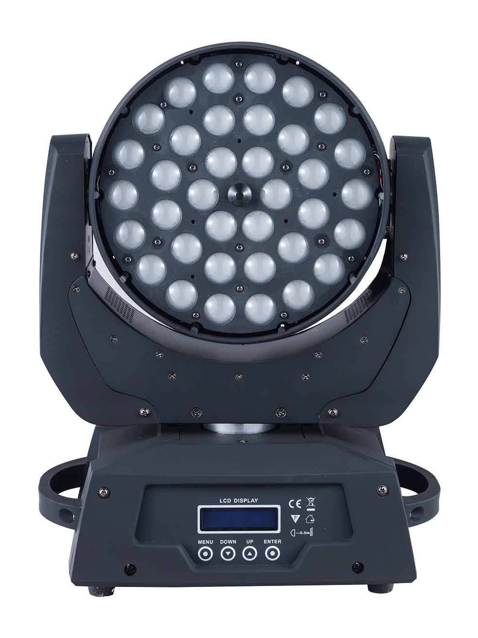 2PCS/lot high brightness 36*18W 6 IN 1 RGBWY+UV LED zoom moving head wash light with flight case dmx dj equpment for bar