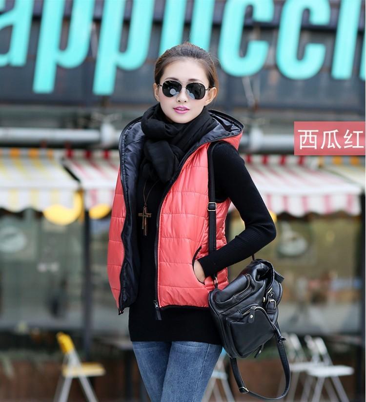 Wiosna 2017 Moda Pogrubienie Odzieży Wierzchniej Wzory Casual Cotton Kobiety Kamizelka Z Kapturem Ciepła Kurtka Kamizelka Motocyklowe 6