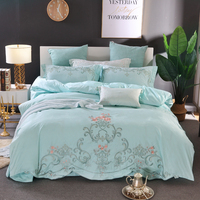 Elegant embroidery Bedding Set green pink jacquard Duvet Cover Set Queen King Size 4pcs Bedclothes