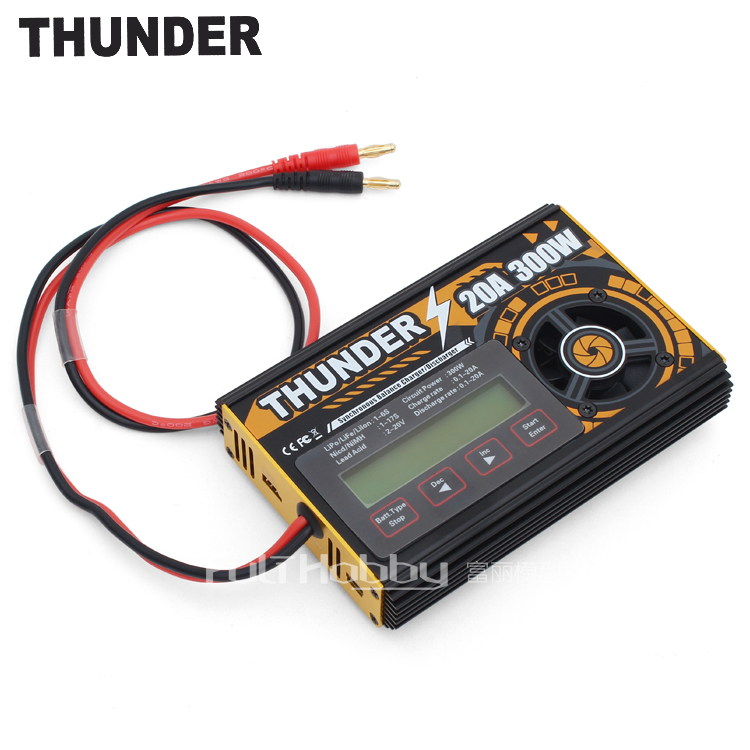 Thunder Lipo Charger 20A 2-6S 300W Multifunctional Intelligent Small Volume High Power Multifunctional Charger Free Shipping thunder 0620 balance lipo charger 20a 2 6s 300w multifunctional intelligent balance charger usb pc link charger free shipping