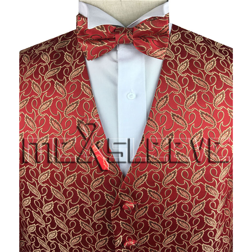 9aa808112907 Hot sale lightweight gold and red handmade tuxedo waistcoat and bowtie-in  Vests from Men s Clothing on Aliexpress.com