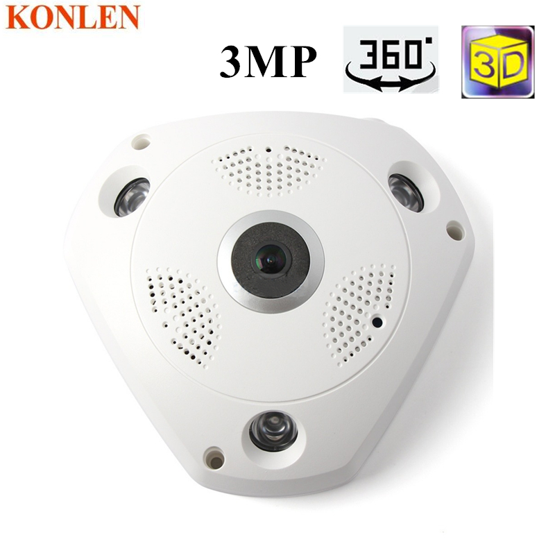 360 Camera IP 3MP Fish Eye Panoramic 1080P WIFI PTZ CCTV 3D VR Video IP Kamera Cam Micro SD Card Audio Remote Home Monitoring-in Surveillance Cameras from Security & Protection    1