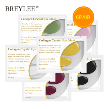 BREYLEE 24K Gold Eye Mask 6pairs Collagen Crystal Serum Eye Patches Anti Wrinkle Puffiness Face Skin