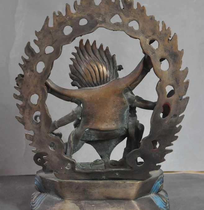 """9 """"Old Tibet Buddismo Bronzo 6 Arms Mahakala Vajrapani Esorcismo Dio Statua di Buddha"""