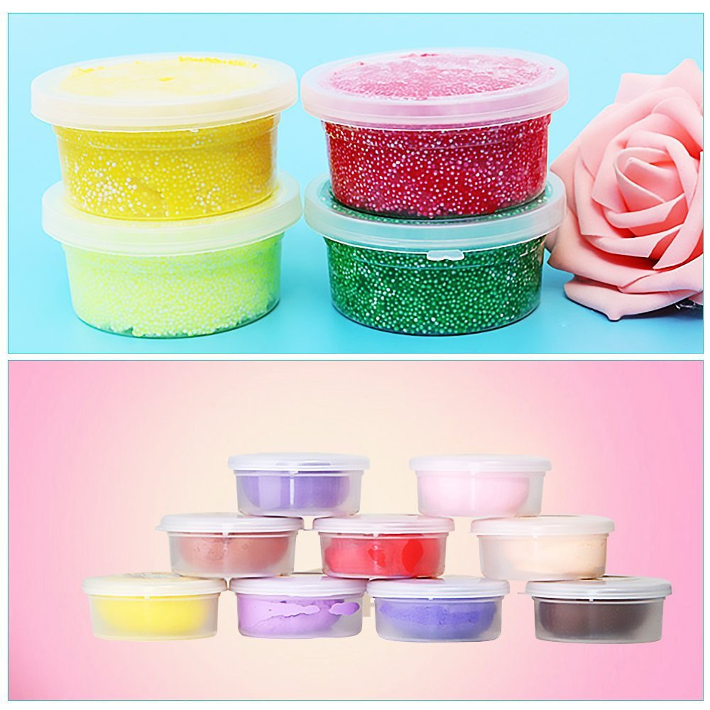 12pcs/lot Plastic Color Plasticine Clear Containers Glue Putty Foam Ball Storage Boxes 20g Slime Storage home organization