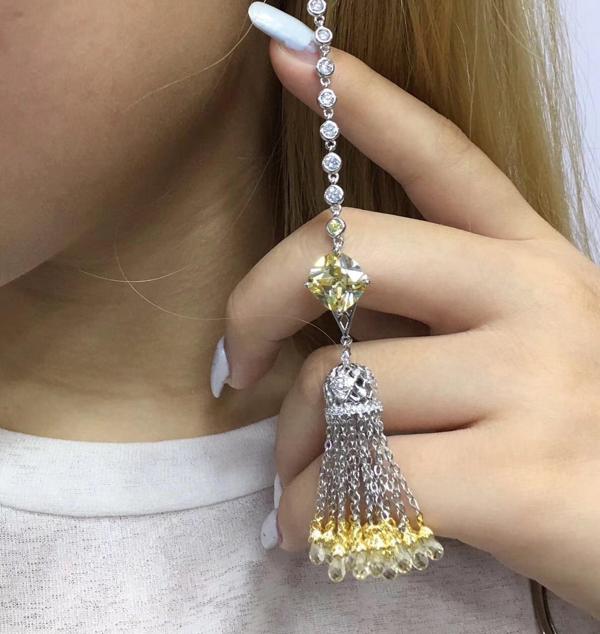 Femmes nouveau réel 925 argent long gland zircone cristal dangle boucles d'oreilles jaune/blanc licorne boucle d'oreille femme-in Boucles d'oreilles pendantes from Bijoux et Accessoires    1