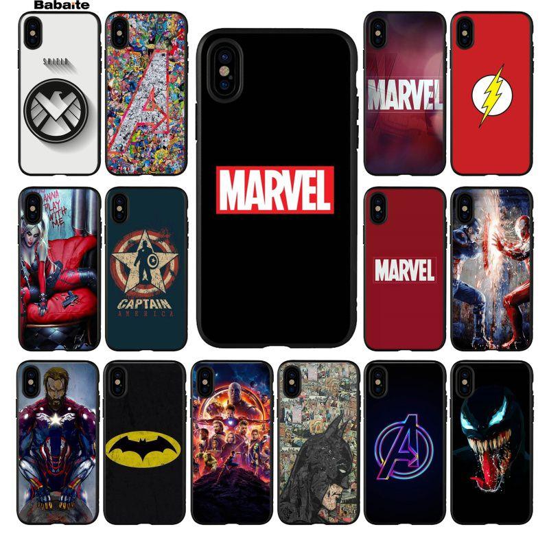 Babaite Marvel Avengers Captain America Shield Superhero Luxury Phone Case Cover for iPhone 5 5Sx 6 7 7plus 8 8Plus X XS MAX XR