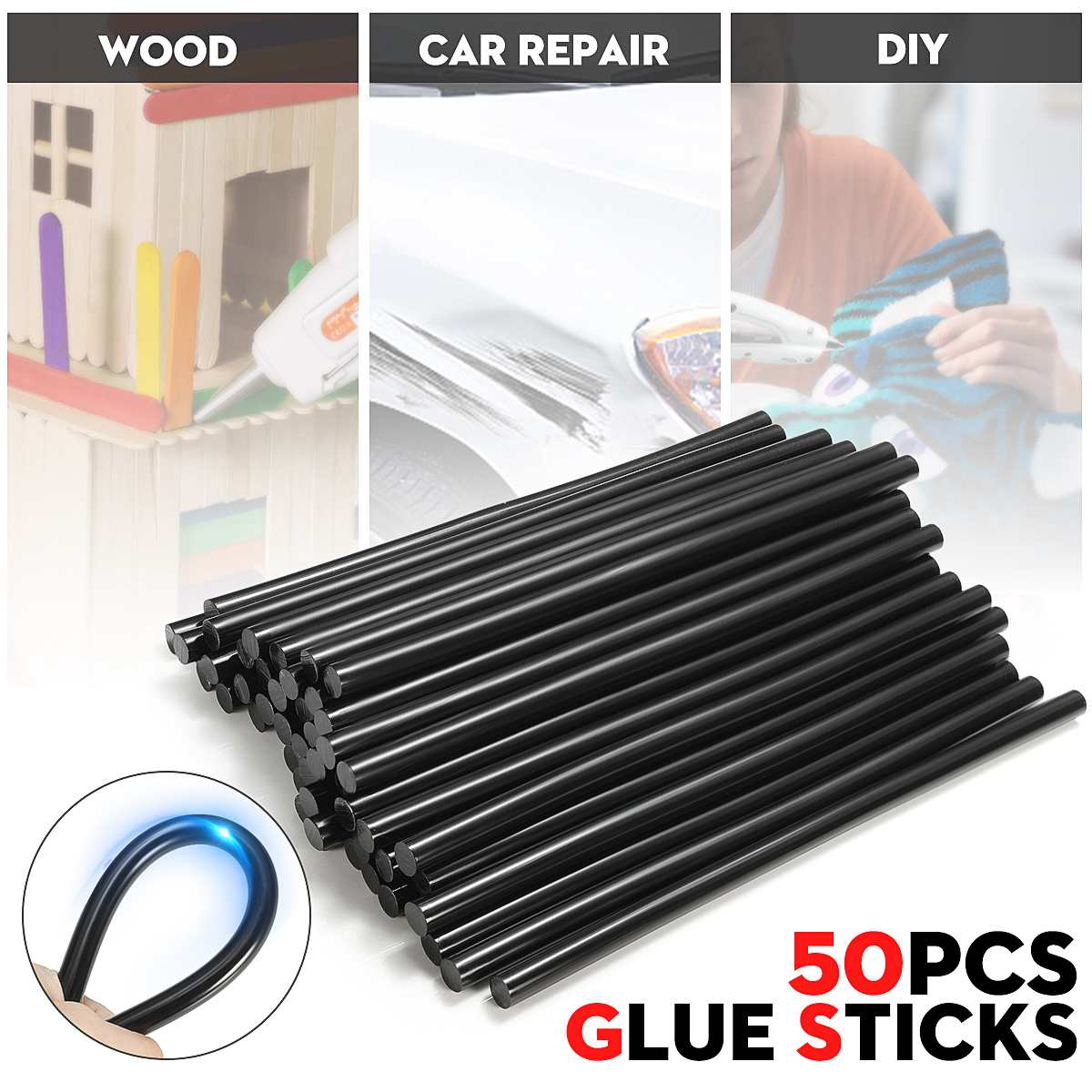 50PCS 11X270MM Black Hot Melt Glue Crafting Models Repair Sticks for Glue-gun Power Tool Accessory DIY Paste Tools50PCS 11X270MM Black Hot Melt Glue Crafting Models Repair Sticks for Glue-gun Power Tool Accessory DIY Paste Tools