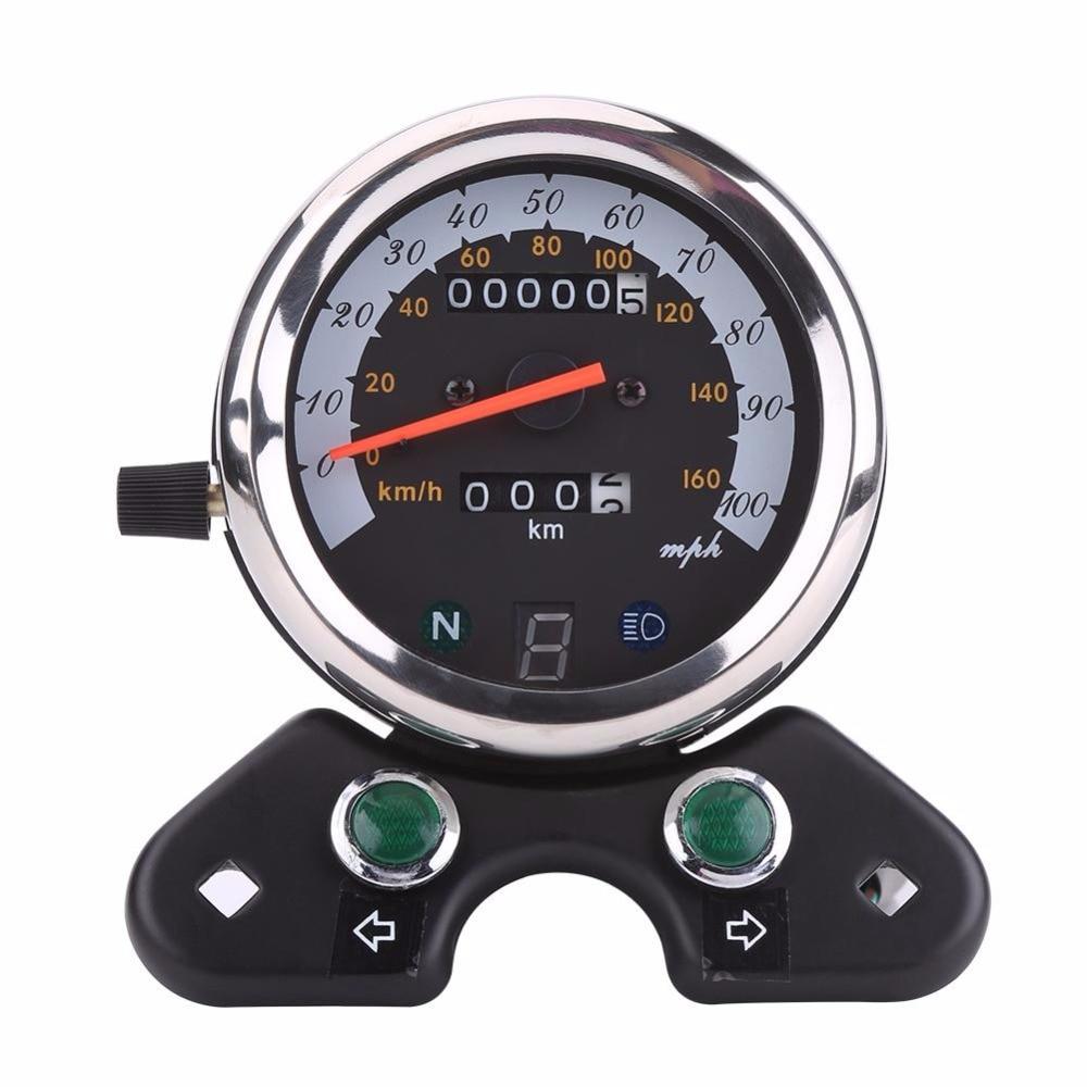 Universal 12V Motorcycle Dual Odometer Speedometer Speedo Meter Gear Digital Display Motorcycle Gague