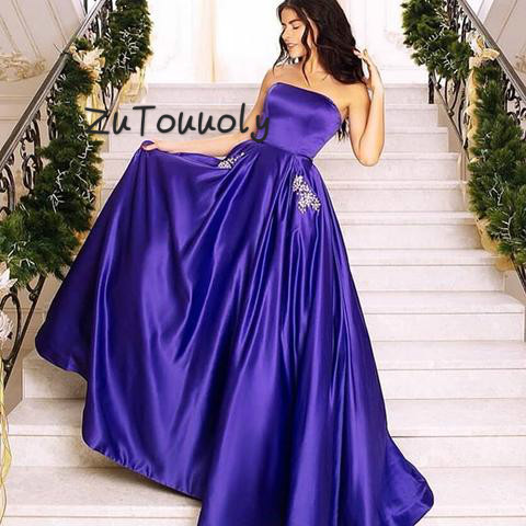 Regency Strapless   Prom     Dresses   With Pocket Satin Robe de soiree 2019 A Line Imported Evening Gown   prom     dresses   Long Party   Dress