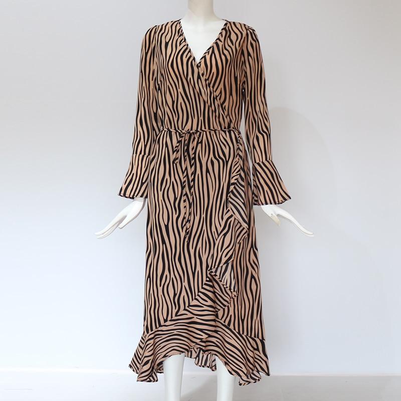 Long Dresses 19 Women Zebra Print Beach Bohemian Maxi Dress Casual Long Sleeve V Neck Ruffles Elegant Party Dress Vestidos 12
