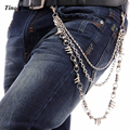 Punk Men's Silver Metal3 Strands Trousers Jean Chain Rivet Wallet Key Chain Three Layers Motorcycle Hip Hop Waist Chain KB37