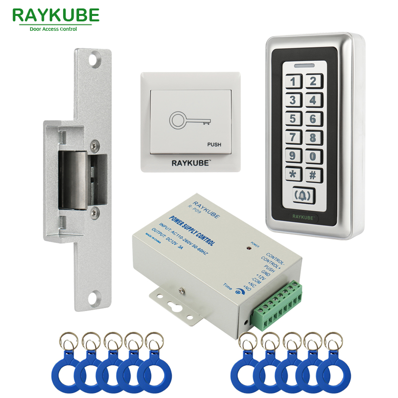 RAYKUBE RFID Electric Strike Lock + Access Control Keypad +ID Keyfobs+Exit Button RFID Access Control Kit diysecur rfid id card keypad door access control system kit electric lock exit button b100