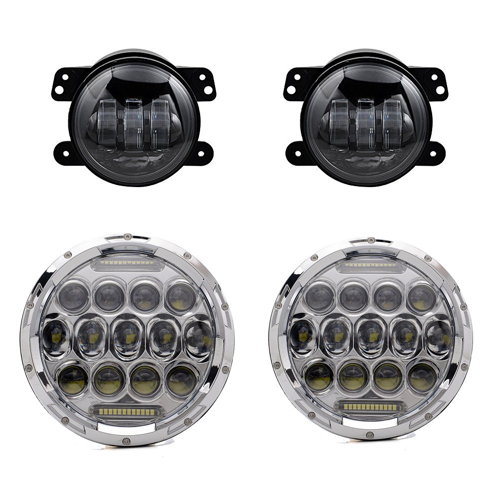 Pair 7 Inch Round Led Headlights Projector Lens With DRL Hi/lo Beam + 2pcs 4 Inch Led Fog Lamps For Jeep Wrangler Front Bumper 2pcs new design 7inch 78w hi lo beam headlamp 7 led headlight for wrangler round 78w led headlights with drl