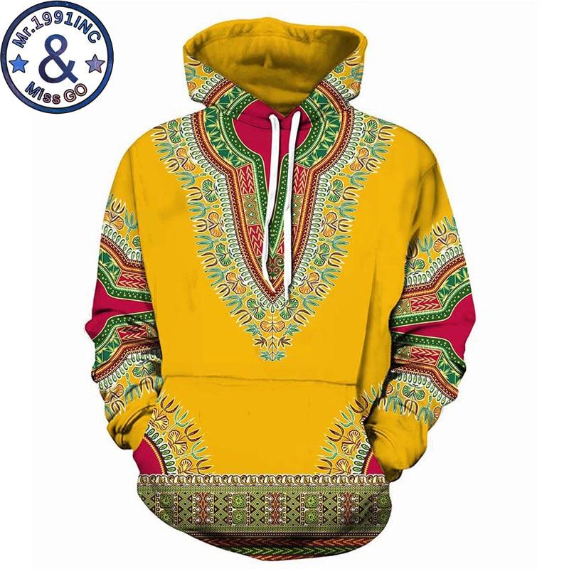 3D African Print Yellow Hoodies Sweatshirts Men Women 2018 Autumn New Hipster Tracksuit Sweat Homme Hip Hop Dashiki Clothing