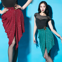 Shiny Sequin Latin Dance Skirt For Women 3 Color Skirt Ladies Tango Ballroom Salsa Dress Practice Costumes Latin Dress BL1341