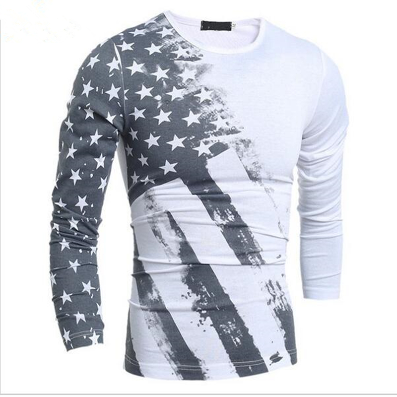 92ae483ac6 Fashion T-Shirt Long Sleeve round collar 2 colors T Shirt USA American Flag  Printed T-shirts Fall Men Fitness