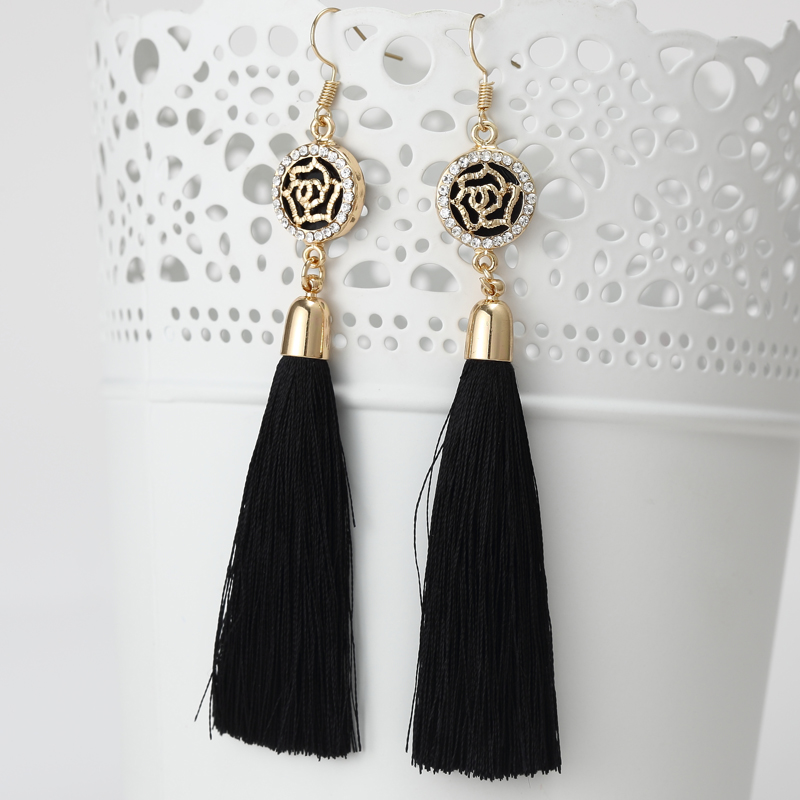 New Tassel Long Earrings For Women Bijoux Fashion Jewelry Wholesale Rose Flower Rhinestone Dangle Earrings Brincos Pendientes