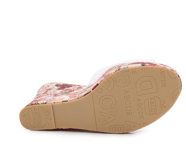 Летняя мода шлепанцы-лодочки на высокой платформе ПВХ прозрачная обувь на платформе на танкетке, удобные сандалии со стразами пикантные 11 с...
