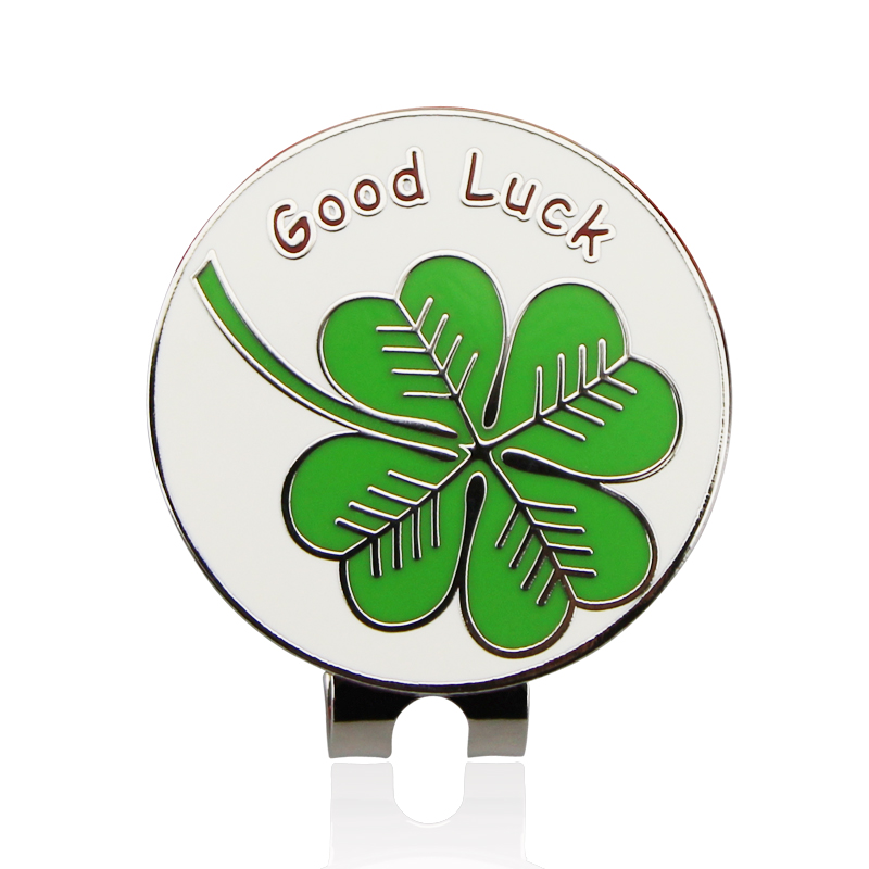Free Shipping 2017 New Arrival Lucky clover Golf Cap Clip Golf Ball Marker  Alloy Professional 1.18
