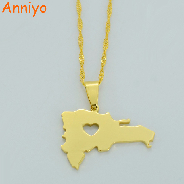 Anniyo The Dominican Republic Map Pendant Necklace for Women/Men Gold Color Jewe
