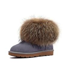 2016 time-limited invierno botas mujer gneuine recoon real natural de zorro grande bajo tubo corto botas de nieve botas de mujer de tobillo zapatos femeninos