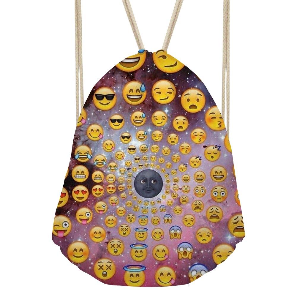 Повседневное Для женщин 3D смайлик Emoji лицо печать школьные сумки студенты улыбка путешествия шнурок рюкзаки для девочек-подростков Bagpack