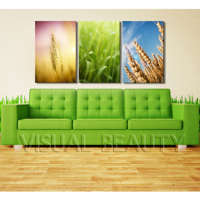 FREE SHIPPING A Good Harvest Rice Images Paintings For Kitchen Decoration (Unframed)40x60cmx3pcs