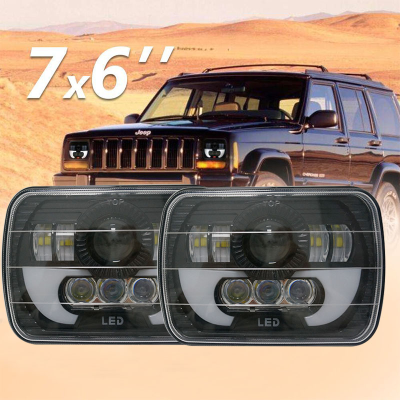 Pair Black 5X7 inch led truck headlight 6x7'' inch High/Low Beam Daytime Running lights for Jeep Cherokee XJ Square led headlamp universal black 3 76mm polished aluminum fmic intercooler piping kit diy pipe length 450mm for jeep cherokee xj ep lgtj76 450