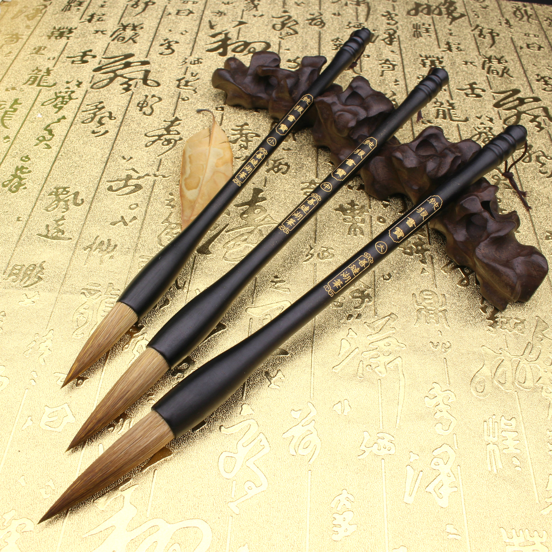 Large Middle Small Regular Script Painting Chinese Traditional Calligraphy Brush Set Pure Weasel Hair Pen Writing Brushes 3pcs pure langhao calligraphy brush all wood lake pen wenfangsibao set