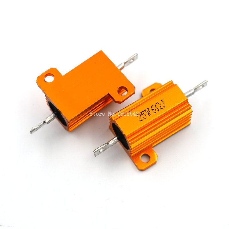 RX24 25W 6R 6RJ Power Metal Shell Aluminium Gold Resistor 25Watt 6 Ohm High Power Heatsink Resistance Golden Heat Sink Resistor