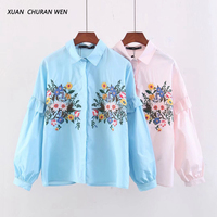 XUANCHURANWEN Plus Size Blouse Cotton Embroidery Floral Shirt Long Sleeve Tops Spring Autumn Loose Women Shirt