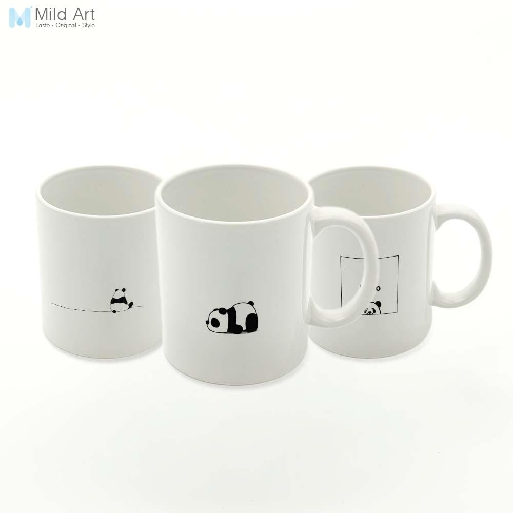 Black White Kawaii Panda Animal Minimalist Nordic Kitchen Ceramic Water Cup Creative Kids Gifts Drinks Coffee Tea Milk Mugs Set