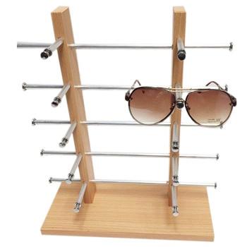 7b024fe30d 2 fila 4 capas de madera pantalla Frame Rack soporte para gafas de sol gafas  de varios vasos de percha estante organizador