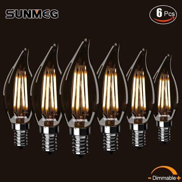 Sunmeg Ca10 Filament Candelabra Led Light Bulb Flame Tip 40 60 Watt Equal Incandescent Lamp Dimmable E12 E26 Base 6pcs Lot