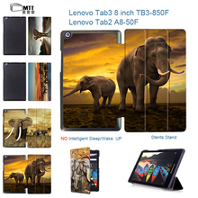 MTT Elephant Painted Case For 2016 new Lenovo Tab 3 8 TB3-850F TB3-850M Tab 2 A8-50F A8-50LC Trifold Leather Tablet Stand Cover
