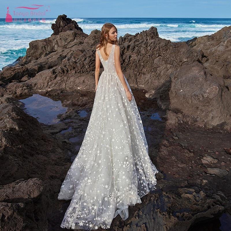 Boho robe de mariée 2019 dentelle étoiles Tulle a-ligne Sexy dos nu à lacets plage robe de mariée robe de mariée DQG741