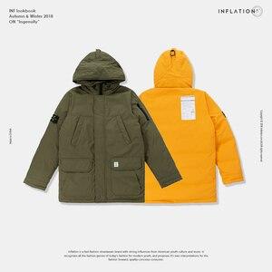 Image 5 - INFLATION longue doudoune hommes hiver manteau mode hiver chaud blanc canard épais doudoune à capuche vêtements de sortie dhiver veste 8765W