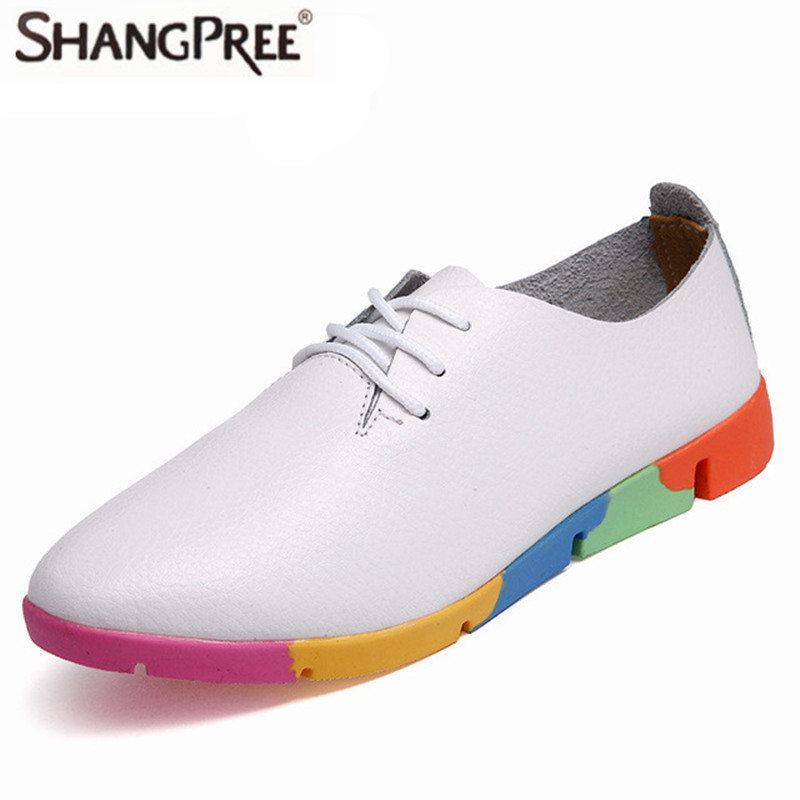 Fashion Large size 35-44 Hot colorful Women Genuine Leather Shoes Breathable Summer/Autumn Flats Ladies Flats Shoes Casual Shoes gktinoo fashion handmade women genuine leather shoes hollow breathable summer spring flats ladies flats shoes casual shoes