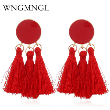 WNGMNGL 2018 New Handmade Tassel Earrings Solid color Bohemia Cotton Round  Long Drop for Women Fashion Pendant Jewelry