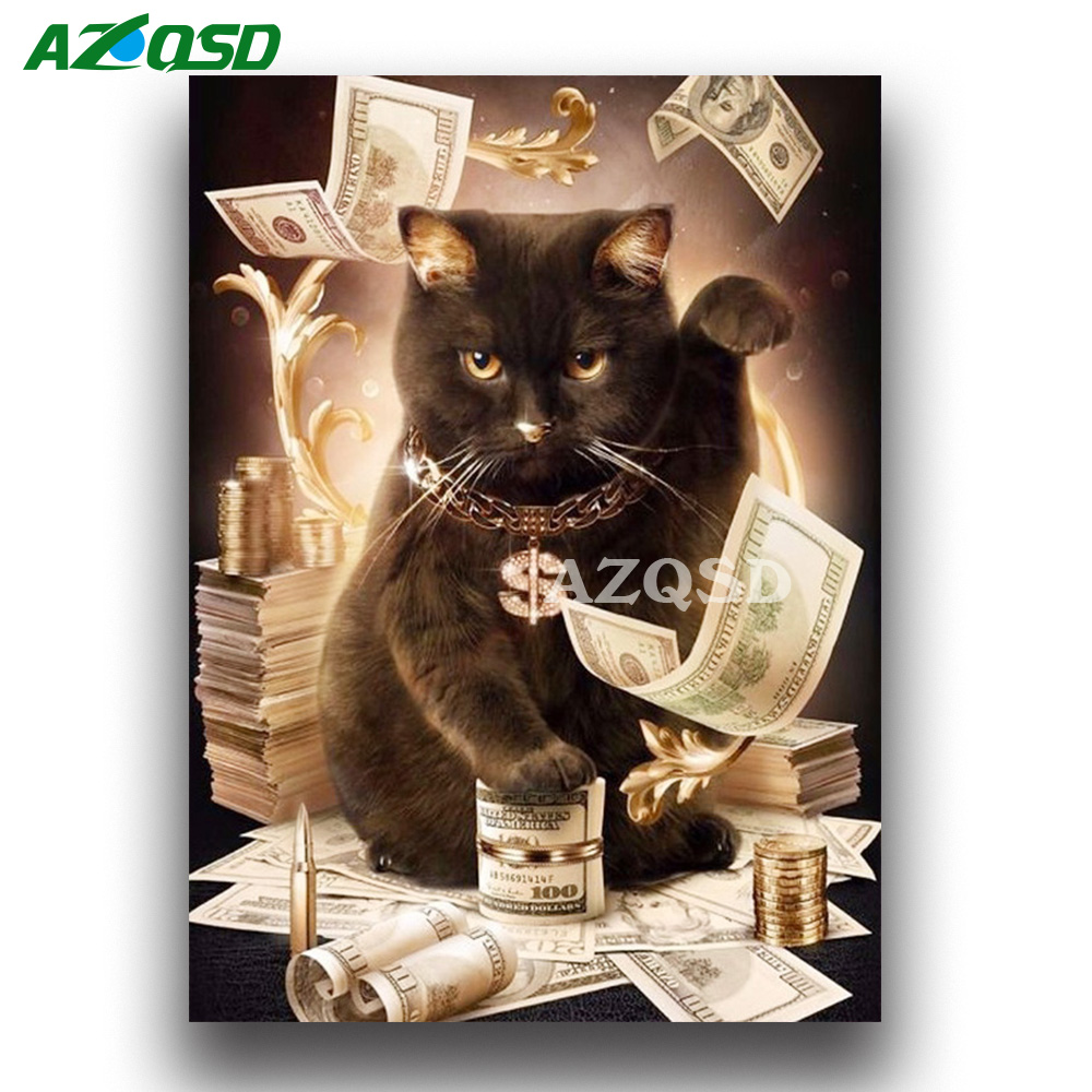 AZQSD 5D Diamond Mosaic Cat&Cash DIY Hobby Diamond Painting Animals Picture of Rhinestone Bead Work Decorative Gift Paste Hobby