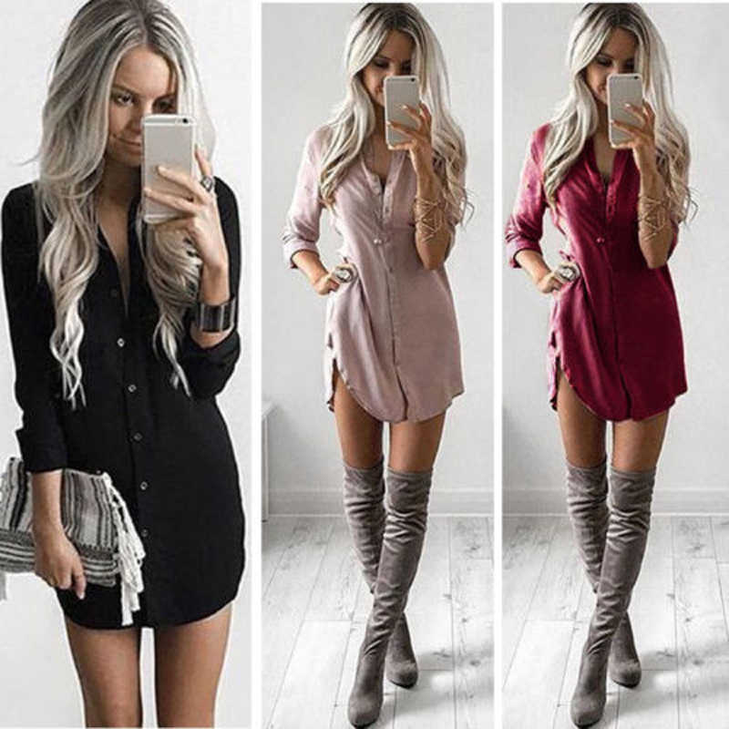 Meihuida Women arrival Shirt Dress Summer Casual Loose Long Sleeve Blouse Dress MIni Vacation Dresses Vestidos