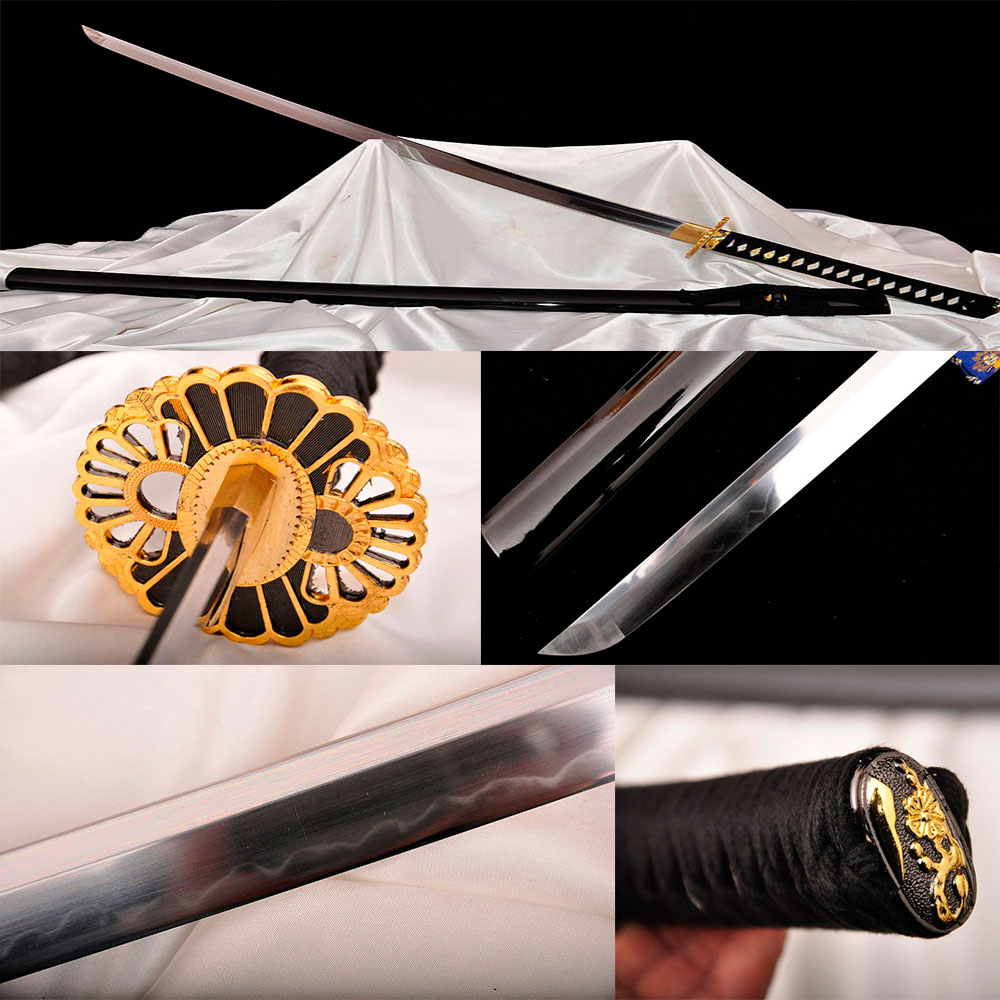 Handmade Casting katana Japanese Samurai Sword T10 steel carving Crack sheath