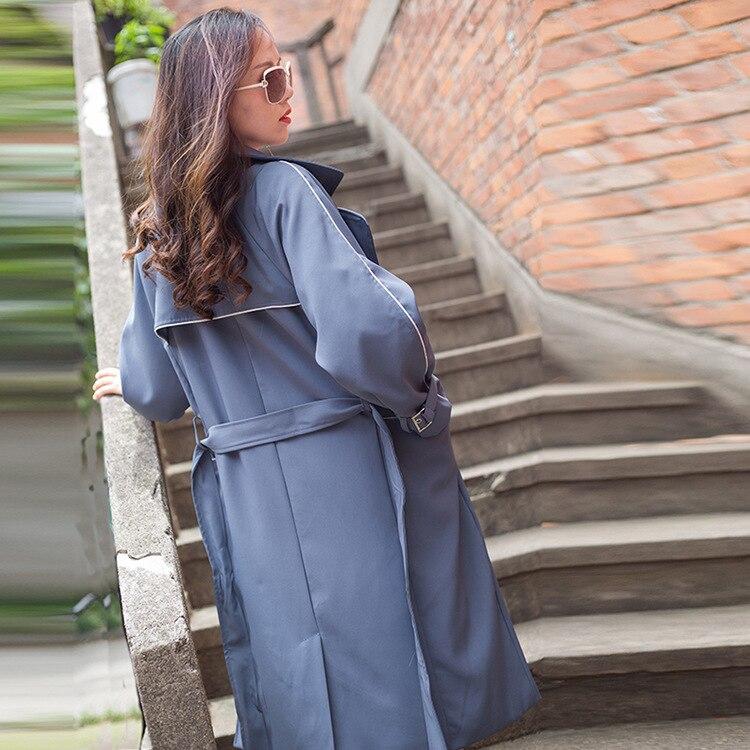 Nouvelle Tranchée Qualité Conception Femmes Couture Slim Femme longue 2018 Automne Manteaux Bleu Manteau Printemps X Swyivy Femelle Xl Outwear qpAvdw4q