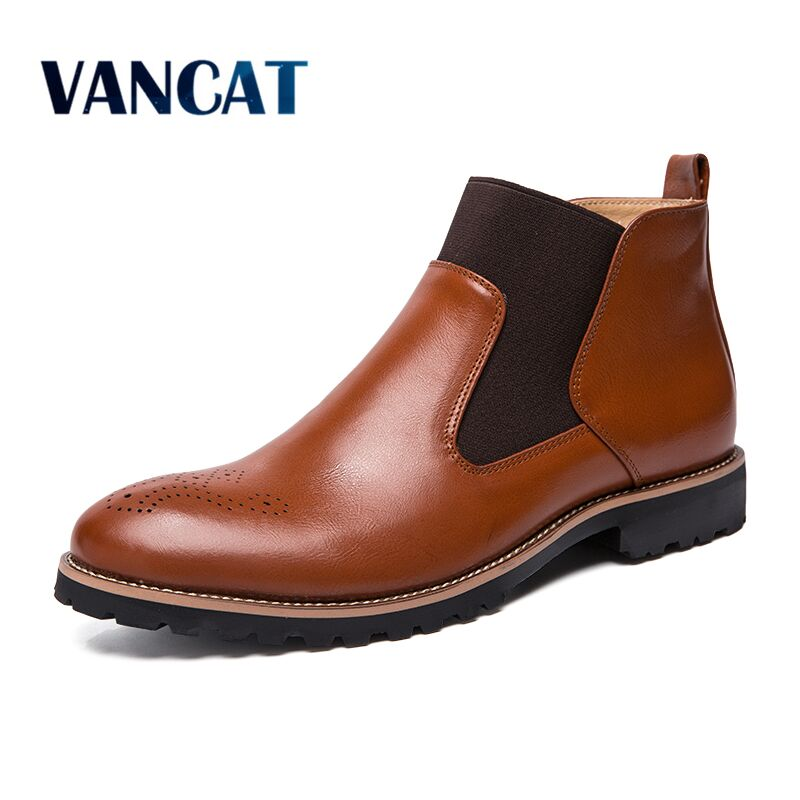 New Autumn Leather Chelsea Boots Brogue Style Men Ankle Boots Breathable Formal Boots Man High Top Casual Shoes Men's Boots