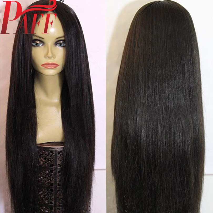 PAFF Silky Straight 4*4 Silk Base Full Lace Human Hair Wigs Silk Top Pre Plucked Peruvian Remy Hair Hairline With Baby Hair8-26""